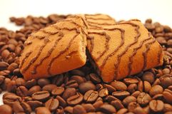 Cookies laying coffee grains Royalty Free Stock Photo