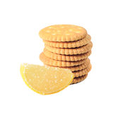 Cookies and lemon marmalade. Isolated on white background Royalty Free Stock Photography
