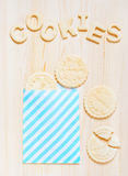 Cookies and letters of shortcrust pastry on the table Royalty Free Stock Image