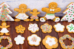 Cookies little men on a wooden table Stock Images