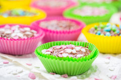 Cookies lovers colorful muffins hearts Stock Image