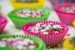 Cookies lovers colorful muffins hearts Royalty Free Stock Photography