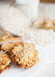 Cookies made from oat flakes. Close up royalty free stock image