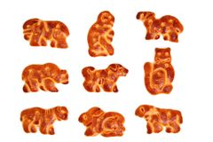 Cookies made in the form of figures of various animals. Isolated on white, (look similar images in my portfolio Royalty Free Stock Photos