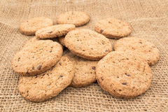 Cookies made of whole wheat with dark chocolate Stock Images