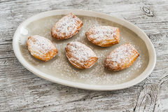 Cookies madeleines with powdered sugar on oval plate Stock Image