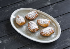 Cookies madeleines with powdered sugar on oval plate Stock Images