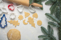 Cookies make dough at home for Christmas Royalty Free Stock Image