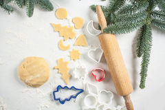 Cookies make dough at home for Christmas. Top view Stock Image