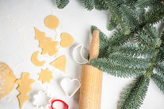 Cookies make dough at home for Christmas Royalty Free Stock Photography
