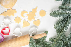 Cookies make dough at home for Christmas Royalty Free Stock Images
