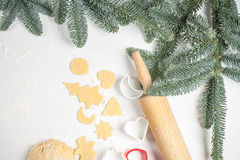 Cookies make dough at home for Christmas Stock Photography