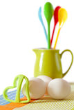 Cookies making: eggs, jug, spoons, form  Royalty Free Stock Photo