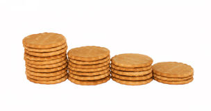 Cookies. Many cookies on a white background isolated Stock Photography