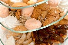 Cookies, marshmallows, eclair, chocolate balls Stock Photo