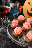 Cookies with marzipan brains for Halloween Stock Image