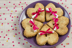 Cookies with the message in the form of heart. Oatmeal cookies for St. Valentine's Day Royalty Free Stock Image