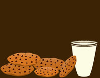 Cookies and milk 1. Pile of chocolate chip cookies with a glass of milk on a brown background vector illustration