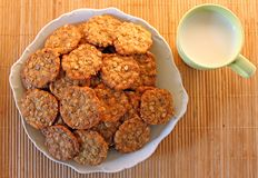 Cookies with milk. Muesli cookies with a cup of milk Stock Images