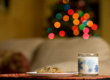 Cookies and Milk. Left out for Santa Stock Photo
