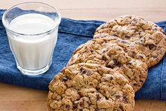 Cookies with milk. Chocolate and pecan nuts recipe Stock Photos