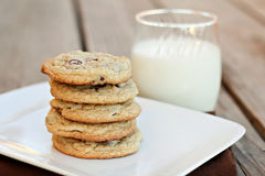 Cookies and Milk. Stack of cookies with a glass of milk Royalty Free Stock Photo