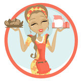 Cookies and Milk. Illustration of a woman holding cookies and some milk Royalty Free Stock Photo