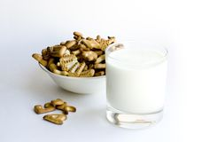 Cookies and milk. On white background Stock Image