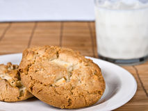 Cookies & Milk. Cookies on a plate with a glass of milk stock photography