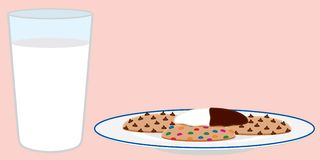 Cookies and Milk. Glass of milk and plate of assorted cookies. EPS8 vector file also available Stock Photography