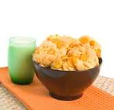 Cookies and Milk. Freshly baked cookies and milk over white background Stock Photo