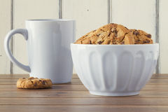Cookies and milk breakfast Royalty Free Stock Image