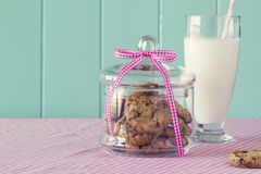 Cookies and milk breakfast Royalty Free Stock Photo