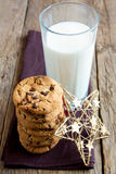 Cookies with milk and christmas star Royalty Free Stock Photos