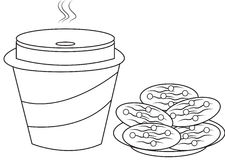 Cookies and milk coloring page. Useful as coloring book for kids Royalty Free Stock Image