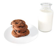 Cookies and milk (image with clipping path). There's nothing like a batch of homemade cookies to lift your spirits and make your house smell royalty free stock photos