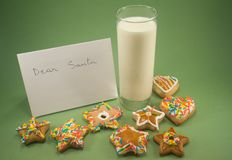 Cookies, milk and a letter to Santa Royalty Free Stock Images