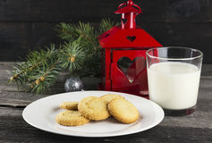 Cookies and milk for Santa Claus.  Stock Photo