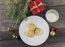 Cookies and milk for Santa Claus.  Royalty Free Stock Photo