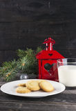 Cookies and milk for Santa Claus.  Stock Images