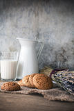 Cookies and milk, toned vintage style Stock Photo