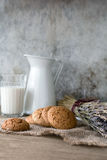 Cookies and milk, toned vintage style Royalty Free Stock Photos