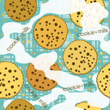 Cookies and milk. Vector seamless pattern. Royalty Free Stock Photos