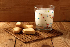 Cookies with milk. On a wooden background Royalty Free Stock Photo