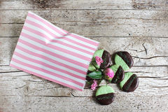 Cookies with mint and dark chocolate in a cookie bag Stock Photography