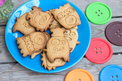 Cookies monsters on a blue plate Royalty Free Stock Photography