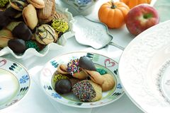 Cookies and more cookies. Still life with plate of cookies royalty free stock image