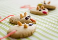 Cookies with mouse shaped and red licorice tail Royalty Free Stock Image