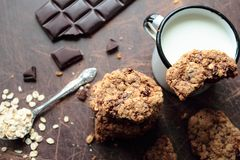 Cookies and mug of milk Royalty Free Stock Photography