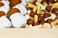 Cookies mushrooms packed in a wooden box Stock Image